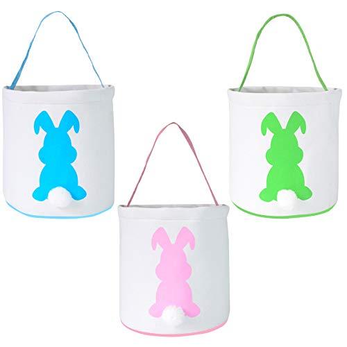 LSJDEER Paquete de 3 cestas de conejito de Pascua, bolsas de lona de Pascua con cola esponjosa para niños, caza de huevos, decoración de fiestas, juguetes Grande Azul + rosa + verde