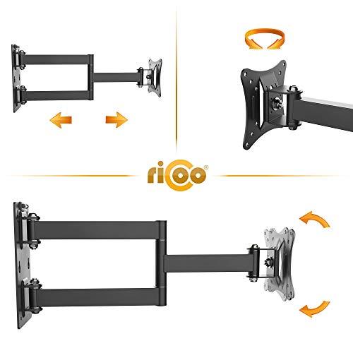 RICOO Monitor Wand-Halterung Schwenkbar Neigbar S2911 Monitor-Halter Wandhalterung-TV LCD LED Wandhalter fuer Flach-Bildschirm PC-Monitor 43-49-54-61-68cm / 17′ 19′ 22′ 24′ 27′ Zoll | VESA max. 100 x 100 universell | Wandabstand nur 68 mm | - 3