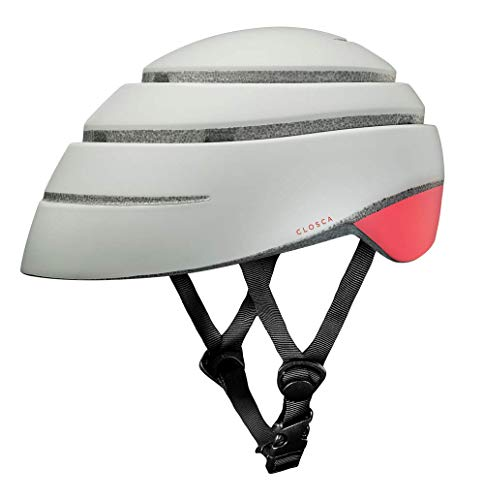 Closca Casco de Bicicleta para Adulto, Plegable Helmet Loop. Casco de Bici y Patinete Eléctrico/Scooter para Mujer y Hombre Unisex. Perla/Coral, Talla M