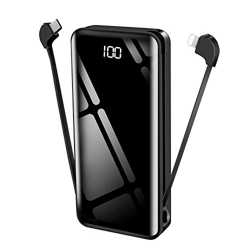 tech LIVING Power Bank - Cargador portátil con Cable Integrado de 25000 mAh y Cable Micro-Ning (Compatible con iPhone, Samsung y más)