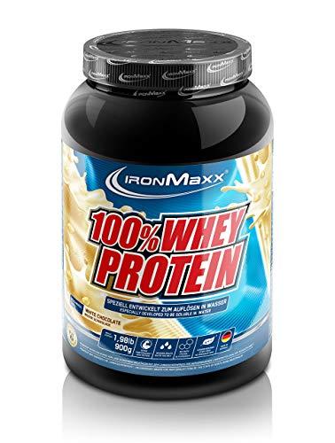 IronMaxx 100% Whey Protein – Whey Proteinpulver auf Wasserbasis – Eiweißpulver mit Weiße Schokolade Geschmack – 1 x 900 g Dose