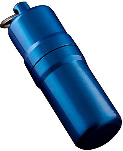 Wasserdichter Runde Zigaretten Taschen Box, Zahnstocher-Halter Tragbarer, Zigarettenbox mit Schlüsselanhänger, Aluminium Zigarettenetui für 10 Zigaretten,Bule