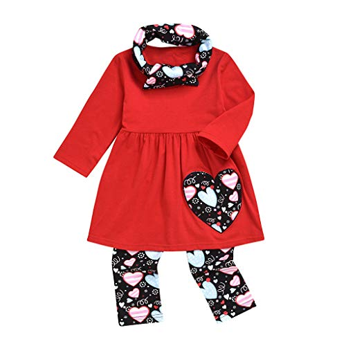 JERFER Kids Baby Girls Love Heart Valentine Dress Tops Pants Headbands Outfits Set