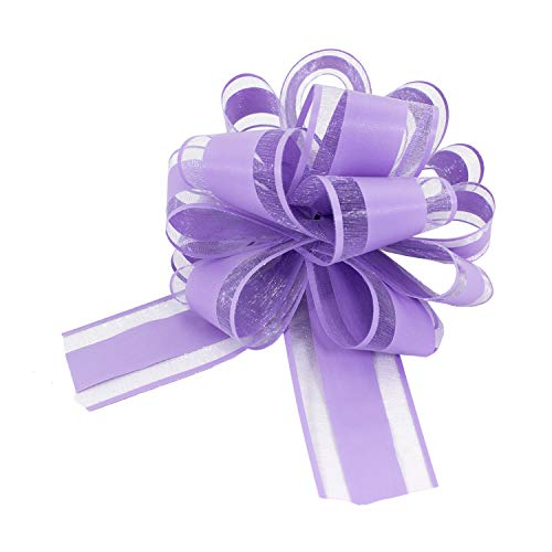Oblique Unique® Geschenk Schleife mit Geschenkband Matt für Geschenke Tüten Zuckertüten zum Basteln Dekorieren Verzieren - Farbe wählbar (Lila)