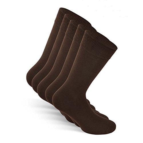 Snocks ® Herren Business Socken Lange Haltbarkeit Dank Bester Qualität (Ohne Fusseln), 05 Braun (5x Paar), 43 - 46