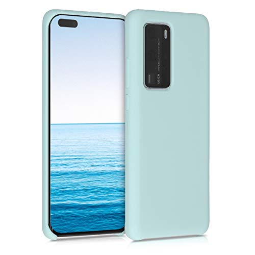 kwmobile TPU Silicone Case Compatible with Huawei P40 Pro - Soft Flexible Rubber Protective Cover - Mint Matte