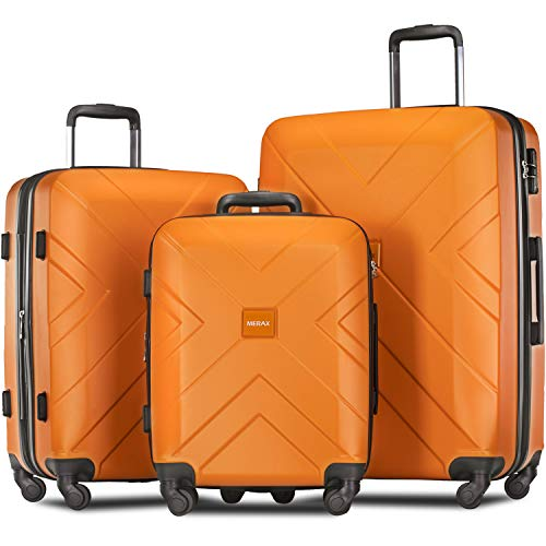 Merax Luggage Set Expandable 3 Piece Sets with TSA Lock, Lightweight Hardside Luggage with Spinner Wheels [X-Cellection] (Orange)