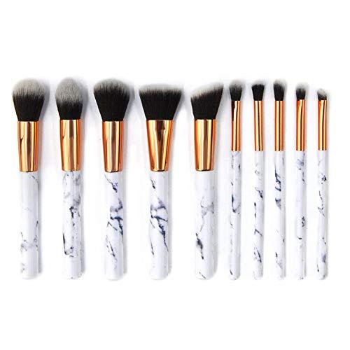 Brosse de maquillage Set marbre poignée 10 pièces make up brosses Premium synthétique brosse de Fondation mélange visage poudre blush cernes cosmétiques pour les yeux,Black