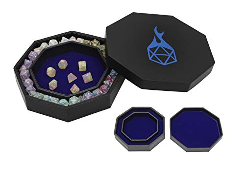 Forged Dice Co. Dice Tray Arena Rolling Tray and Storage Compatible with Any dice Game, D&D and RPG Gaming (Blue)