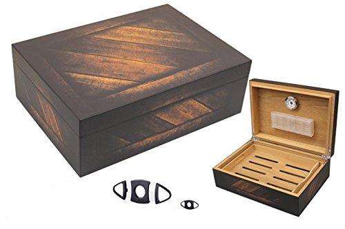 Marken - Humidor für 50 Zigarren - INKLUSIVE ELEKTRONISCHEN PRÄZISIONS BEFEUCHTER HYDROCASE MADE IN GERMANY