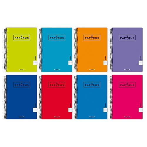 Unipapel 98442095. Pack de 5 Cuadernos Lisos, Papyrus 08-Uniclasic, Tamaño Folio, Papel 90g, 80 Hojas, Colores Surtidos Aleatorios, Tapa Polipropileno