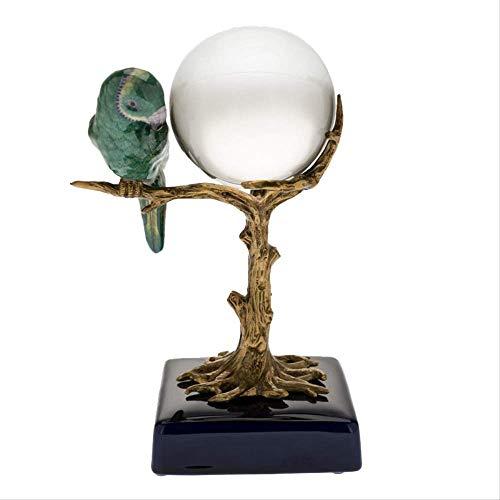 Modern Interieur Sculptuur Accenten Creatieve Kristallen Bol Keramiek Met Koperen Vogel Decoraties Thuis Veranda Kast Studie Ambachten Ornamenten