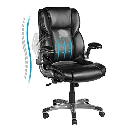 VANSPACE Leather Executive Office Chair EC02, Office Chair High Back, Adjustable Lumbar Support and Tilt Angle Computer Desk Chair, Ergonomic Office Chair with Flip-up Armrest, Black