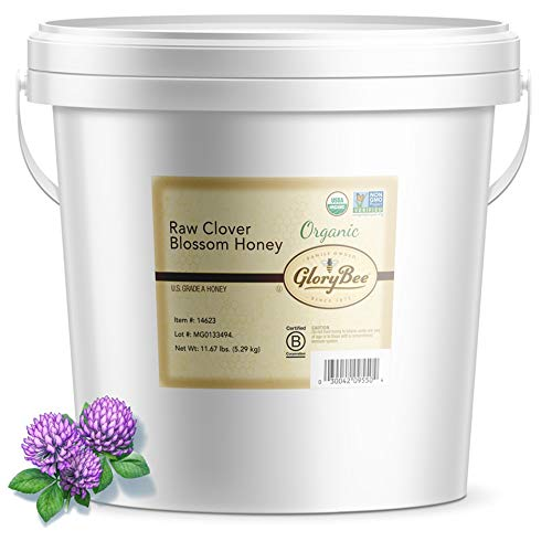 GloryBee Raw Honey, True Source Certified, USDA Organic, Organic Clover, 186.72 Ounce Bulk Pail