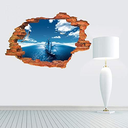 GDCAKMI Neue 3D Oceanic Navigation Wandaufkleber für Kinderzimmer mit Selbstklebendem Backsteinmuster für Heimtextilien, Badezimmertapeten und Wohnzimmer