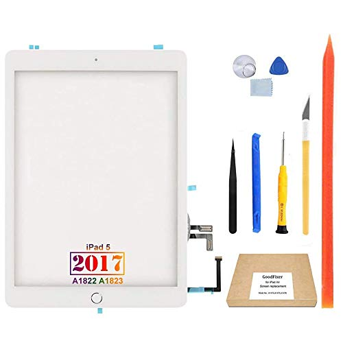 GoodFixer Digitizer Touch Screen Replacement for iPad 5 5th Gen 2017 9.7', Only for 5th Generation A1822 A1823, with Home Button, Full Repair Kit, Camera Holder
