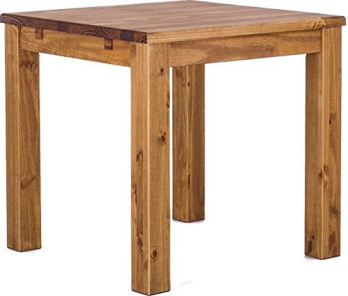 Brasilmöbel Esstisch Rio Classico 80x80 cm Brasil Massivholz Pinie Holz Esszimmertisch Echtholz Größe und Farbe wählbar ausziehbar vorgerichtet für Ansteckplatten