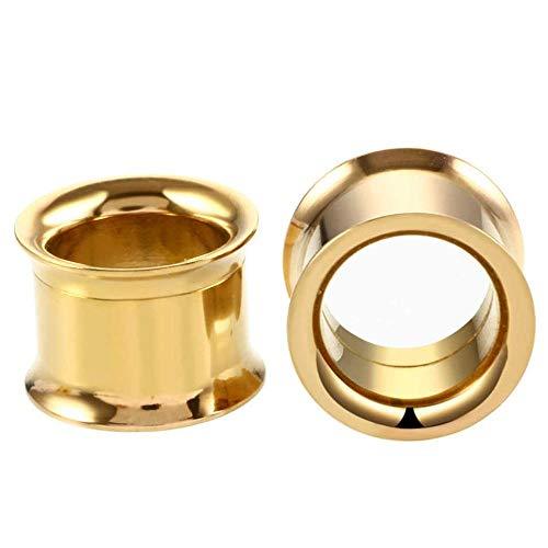 Oreja Dilataciones 1 Uds 2-30mm medidores de oreja de acero inoxidable 316L tapones para túneles de oreja joyería piercing ensanchadores de oreja tapones expansores y túneles-B- Oro_8 mm