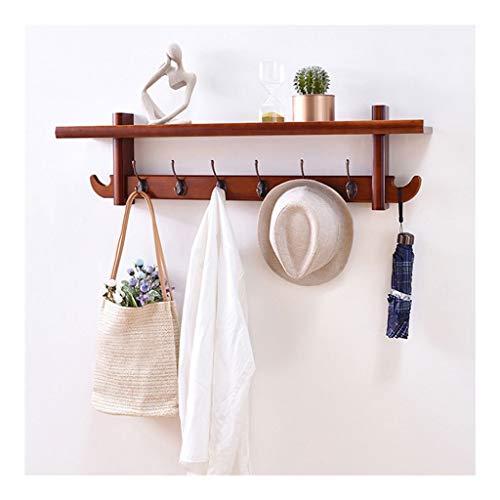 YBYB - Perchero de pared con estante de madera para colgar abrigos, perchero, para entrada, cocina, baño, perchero para pared (color: marrón, tamaño: 6 ganchos)