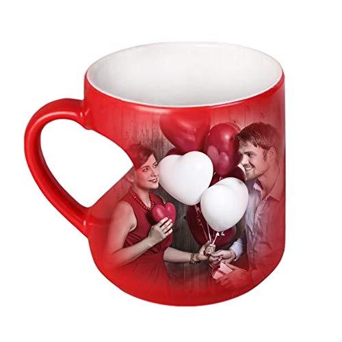 Taza De Foto Personalizada Personalizada Taza De Café Que Cambia De Color Mágico Taza De Bricolaje(Rojo)