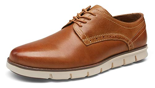 VOSTEY Men's Dress Shoes Leather Wingtip Oxfords Casual Brogue Derby Shoes(7,Leather casual726-yellow Brown)