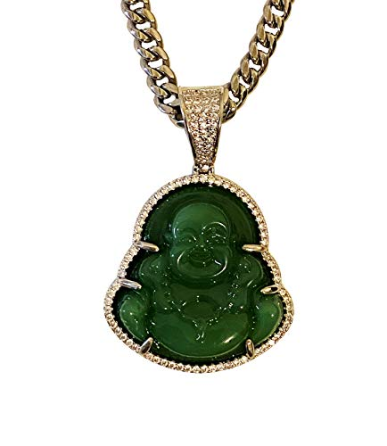 Smiling Happy Iced Laughing Buddha Green Jade Pendant Necklace Miami Cuban Chain Cz Box Lock, Genuine Certified Grade A Jadeite Jade Hand Crafted, Silver Jade Medallion 6mm 20' Cuban Choker