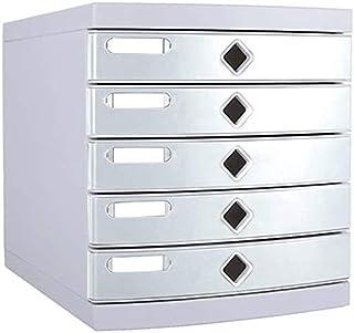 Classeurs WHLONG 5 Couches de Bureau Boîte de Rangement Petites armoires Rack de fichier Plat Blanc