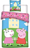 Aymax Peppa Pig - Juego de cama infantil (funda nórdica de 140 x 200 cm y funda de almohada), diseño de Peppa