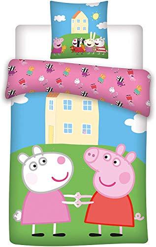 Aymax Peppa Pig - Juego de cama infantil (funda nórdica de 140 x 200 cm y funda de almohada),...