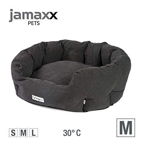 JAMAXX Ovales Hundebett mit Komfort-Füllung, Vintage Canvas Stoff, Kissen-Bezug waschbar 30°C, Hunde-Korb Körbchen Bezug Farben im modernen Vintage-Canvas Design, PDB2087 (M) 85x70