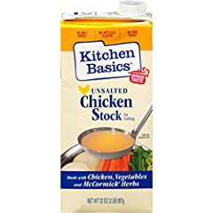 Robust unsalted chicken stock made with slow-simmered vegetables and herbs and spices Gluten-free, no MSG added, 140 mg of sodium per serving and allergen tested for milk, eggs, and peanuts 65% less sodium than Original Kitchen Basics Chicken Stock P...