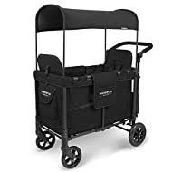 WONDERFOLD W2 Multi-Function 2 Passenger Push/Pull Folding Stroller Wagon with Adjustable & Removable Canopy, 5-Point Harnesses, and One-Step Foot Brake (Black)