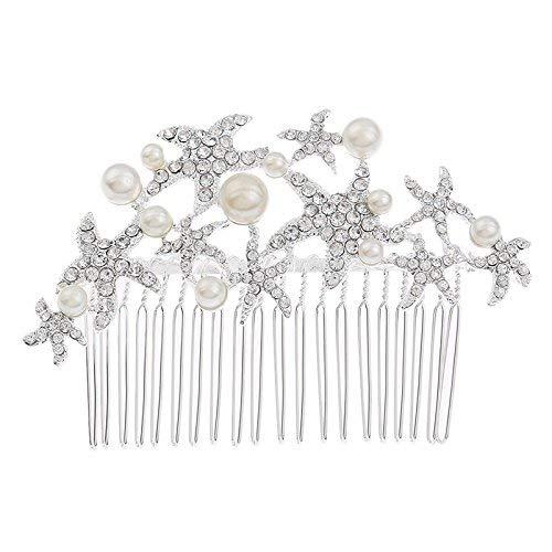 Starfish Hair Comb Crystal Rhinestone Beach Wedding Hair Pin Party Prom Decorative Hair Accessories for Women Girls