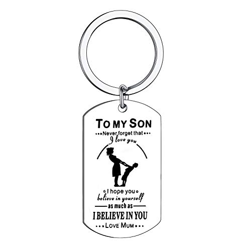 BESPMOSP Gifts for Son Never Forget That I Love You Keychains Jewellery for Teen Boys Inspirational Gifts