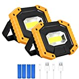 T-SUN 2 Pack COB Portable LED Work Light Rechargeable,2000LM Waterproof Floodlights with USB Outdoor Spotlight for Car Repairing,Fishing,Camping,Hiking,Emergency Job Security Lights