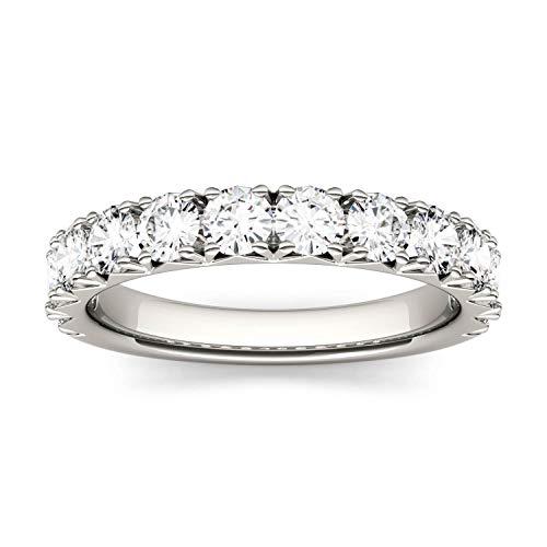 Charles & Colvard Forever One anillo de aniversario de boda - Oro blanco 14K - Moissanita de 3.0 mm de talla redonda, 1.2 ct. DEW, talla 17