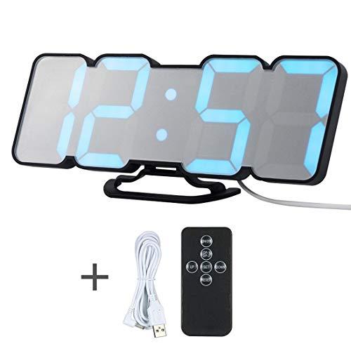 GSODC digitale led-wekker, elektronische wandklok, wekker met 3 helderheidsniveaus instelbaar en spraakbesturing voor slaapkamer, kantoor, kinderen, tieners
