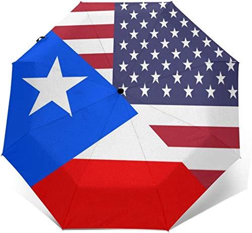 Paraguas automático de tres pliegues con bandera americana y de Puerto Rico