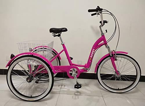 Driewieler voor volwassenen, lichtmetalen frame, vouwbaar, 6 versnellingen, voorvering, vouwbare trike, 23KG (Roze)