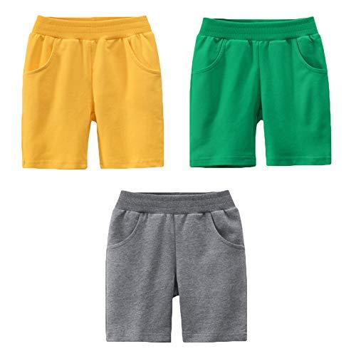 LAUSONS 3er-Pack Shorts für Kinder Sommer Kurze Hosen Einfarbige Baumwolle Schlafanzug Set 3/98-104/Etikett 100