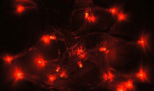 Samgu 5 mètres Rouge Lumière chaîne de LED 50Leds LED Guirlande led lampe ampoule éclairage étanche pour jardin décoration extérieur intérieure lumineuse, idéal pour Noël , fêtes , mariages, maison, sapin de noël