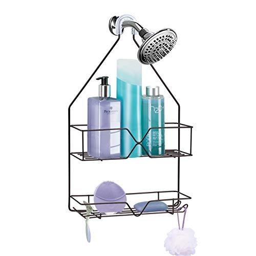 Shower Caddy Hanging over Shower Head Small Rust Roof Shower Organizer with 4 Hooks for Razor Shampoo Holder Bathroom Shower Rack Storage Shelf –...
