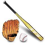 SUQIAOQIAO Conjunto de Bate de béisbol de 25 Pulgadas, Incluido el Guante de Bate de béisbol y el softbol de la Bola, para los Adolescentes Principiantes y los niños,Oro