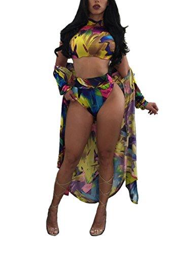 Viottiset Women's High Waist Swimsuit Crop Top with Bikini Cover Up Yellow Medium
