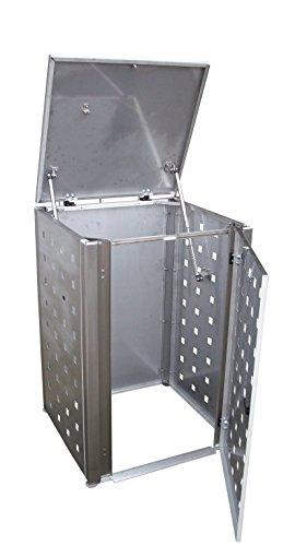 Mülltonnenschrank Edelstahl für drei 120 Liter Tonnen - 3