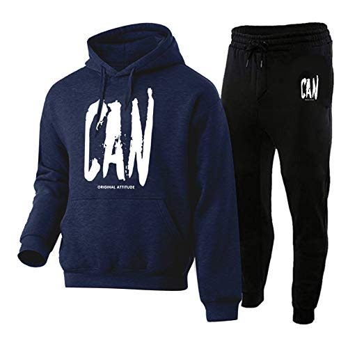 Moent Conjunto de sudadera y pantalones de manga larga con capucha y estampado personalizado para hombre, conjunto de 2 pieses (azul marino, L)