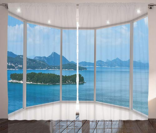 """Ambesonne Landscape Curtains, Seascape Beach Seaside Hills Trees View from Window Picture Tropic Panorama, Living Room Bedroom Window Drapes 2 Panel Set, 108"""" X 84"""", Azure White"""