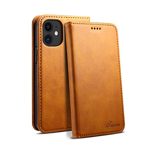Leather Case Suitable for iPhone 12 Mini 5.4 2020 Fold Khaki Shockproof Fashion Durable Protection Cover for Boy Girl