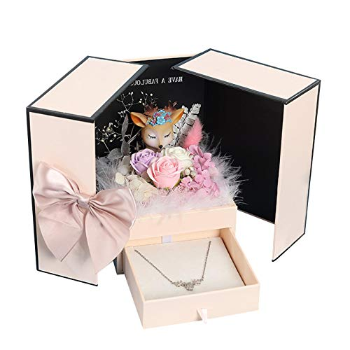 hooks Artificial Flowers with Pink Gift Box Fake Rose Carnation Bouquets Women Gift for Valentine's Day, Mother's Day, Wedding, Home Décor