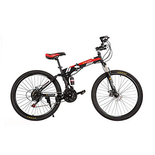 DOMDIL 26in Folding Mountain Bike 21 Speed Sport Bicycle for Men/Women Full Suspension MTB with Disc Brakes,Black Red